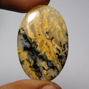 Tiger dendritic agate Cabochons,Tiger dendritic agate Gemstone,Tiger dendritic agate Loose Stone MM 41X24 Hand Polished  44Cts.