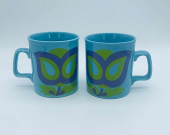 Retro Set of two Staffordshire coffee mugs, with abstract flower design, Flower Power Mugs!