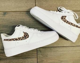 Handpainted custom cheetah print Air Force Ones