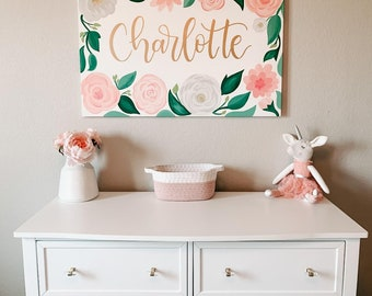 Custom Floral Name Canvas