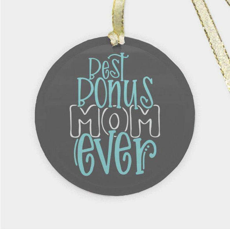 Foster Mom Round Glass Christmas Ornament Best Bonus Mom Ever Step Mom
