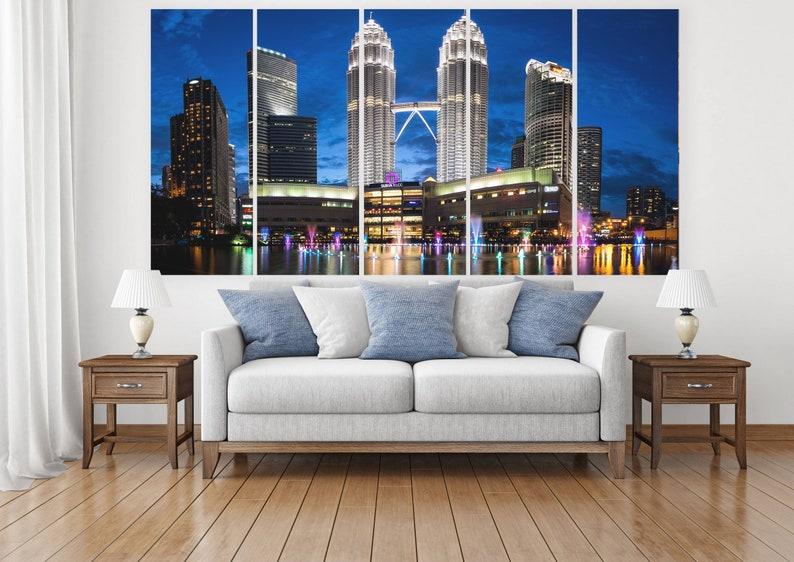 Architecture Urban,Printed on Canvas,Oversized Canvas,5 Panel Canvas,Cityscape,Skyscrapers Print,Set of 5Print for Office,Architecture Print