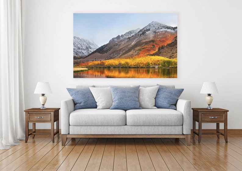 Forest Printed on Canvas,Oversized Canvas,5 Panel Canvas,inyo national forest,Set of 5 Prints,autumn art,Reflection Poster,mirror lake,U.S
