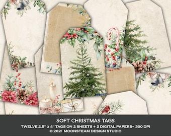 Christmas Tags, Christmas Collage Sheets, Christmas Junk Journal, Ephemera, Clip Art