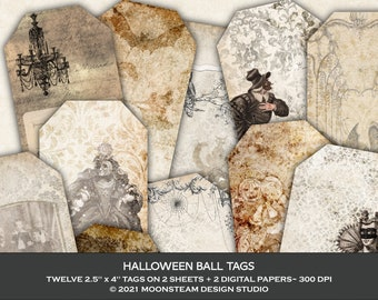 Halloween Ball Tags, Gothic Collage Sheets, Halloween Junk Journal, Dark Academia Journal, Spooky Ephemera, Clip Art
