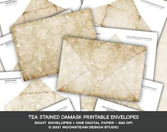 Tea Stained Damask Envelopes, Damask Ephemera, Printable Envelopes, Shabby Vintage, Junk Journal, Letter, Scrapbook, Digital Download