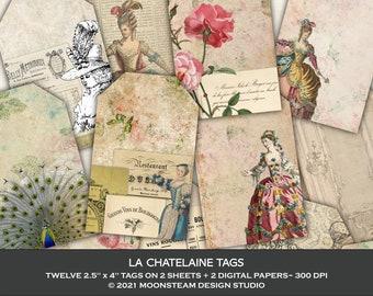 French Ephemera Tags, La Chatelaine Collage Sheets, French Junk Journal, Chateau Ephemera, Clip Art