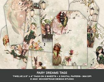 Fairy Dreams Tags, Fairy Collage Sheets, Fairy Junk Journal, Fairycore, Magical Ephemera, Clip Art