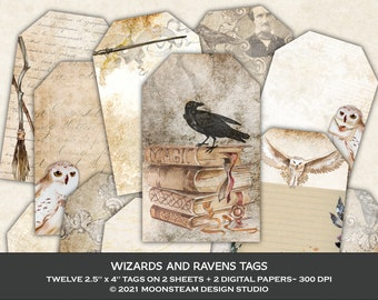 Wizards and Ravens Tags, Magical Collage Sheets, Wizarding Junk Journal, Light Academia, Magical Ephemera, Clip Art