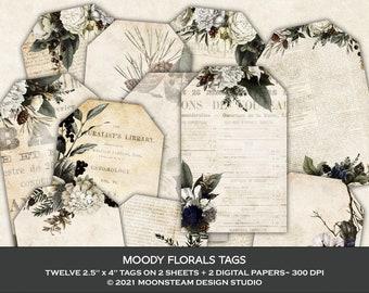 Moody Florals Tags, Dark Academia Collage Sheets, Garden Junk Journal, Floral Ephemera, Clip Art
