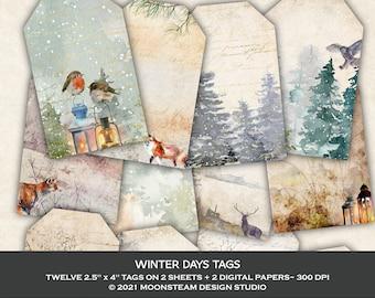 Winter Days Tags, Winter Forest Collage Sheets, Winter Junk Journal, Forest Ephemera, Clip Art