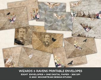 Wizards and Ravens Printable Envelopes, Magical Digital Envelopes, Gothic Ephemera Envelopes, Dark Academia, Junk Journal, Digital Download