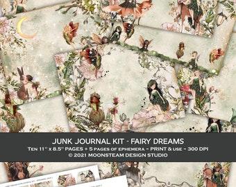 Junk Journaling Printable Kit, Fairy Dreams theme, Papers and Ephemera, Digital Download, Fairy Junk Journal, Fantasy Journal