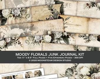 Junk Journaling Printable Kit, Moody Florals theme, Papers and Ephemera, Floral Junk Journal, Dark Academia, Digital Download