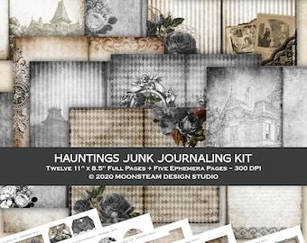 Junk Journaling Printable Kit, Haunted House theme, Papers and Ephemera, Digital Download, Halloween Junk Journal