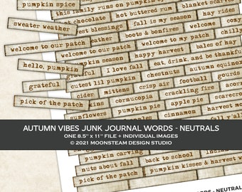 Autumn Vibes Journal Words in Neutral, Labels, Parchment, Junk Journal, Phrases, Mixed Media, Printable, Ephemera