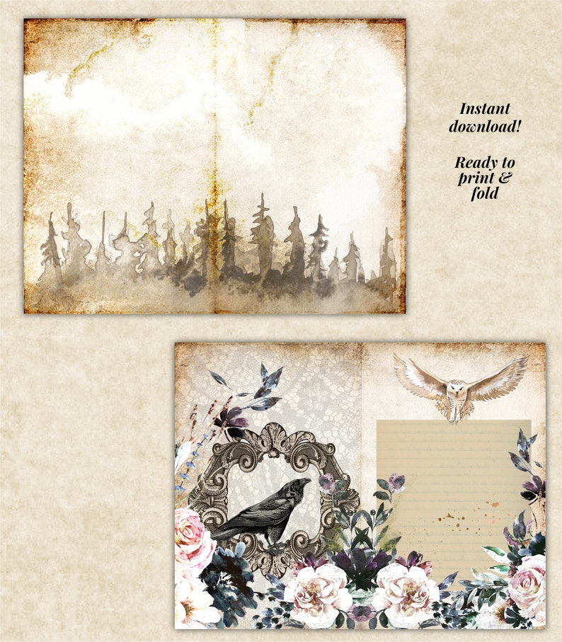 Digital Download Junk Journaling Printable Kit Halloween Junk Journal Wizards and Ravens theme Papers and Ephemera