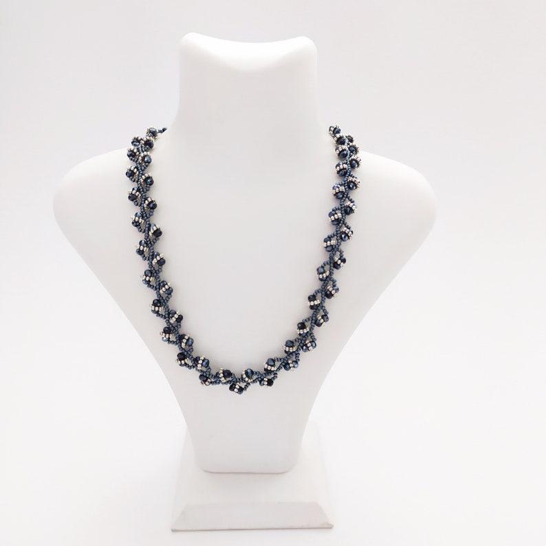 Navy Blue Silver Jewelry Set Necklace Bracelet Anniversary Gift