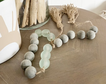 Sea Glass Garland  Wood Bead Loop  Beach Decor  Boho