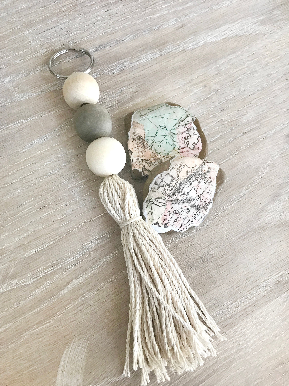 Tassel Key Ring Wood Bead Sea Glass Tassel Keychain Beach Glass Beads Boho Accessories Boho Bag Charm Car Keychain Wood Bead Key Fob