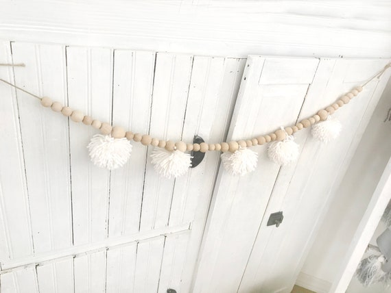 Tassle Farmhouse Beads Natural Wood Bead Garland Kids Baby Nursery Room Decor US