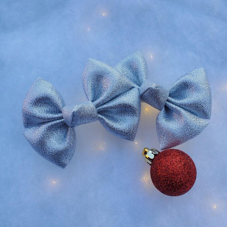 Classic Bow Christmas Hair Bow Pigtail Clip Set Big Bow Newborn Headband New Years Hair Bow Silver Shimmery Metallic Hair Bow