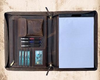 Personalized Leather Portfolio, Letter Size Organizer Folders, Leather Padfolio Men, Leather Portfolio Zipper, A4 Holder, Document Bag