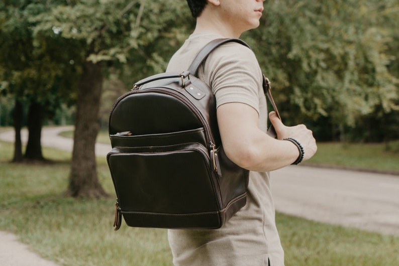 Teacher BackpackDaily Backpack BagMonogram Leather image 0
