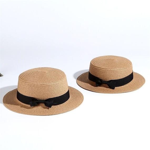 Simple Summer Beach Hat Female Casual Women Flat Brim Bowknot Straw Cap