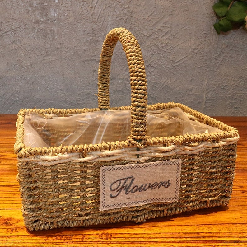 woven seagrass baskets with handles decorative storage boxes.htm woven garden willow basket handmade wicker basket planters etsy  basket handmade wicker basket planters
