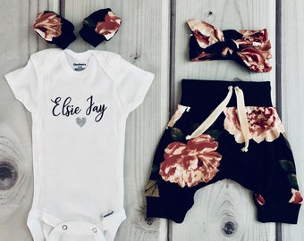 13d7981fc Newborn girl coming home outfit, baby girl personalized onesie, floral baby  outfit, baby girl outfit
