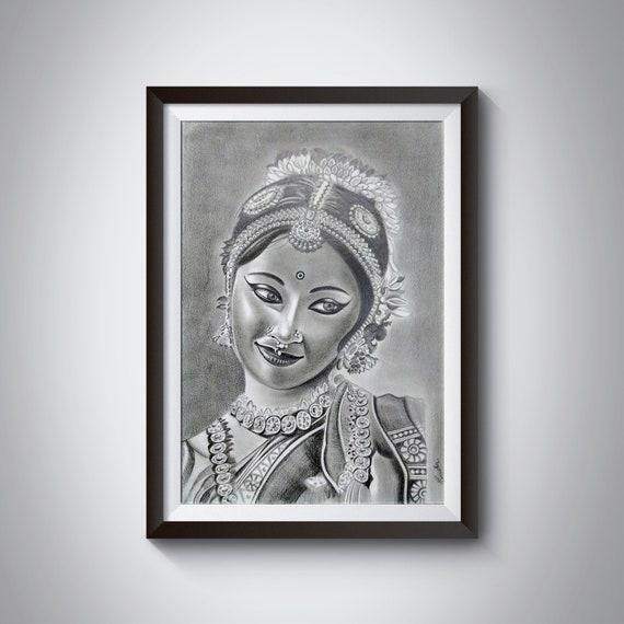 Original Pencil Portrait Drawing Of Bharatanatyam Dancer Etsy