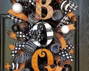 Halloween Wreath,  Halloween Swag, Halloween Wreaths For Front Door, Front Door Wreath, Halloween Decor, Spider Decor, Boo Swag, Boo Wreath