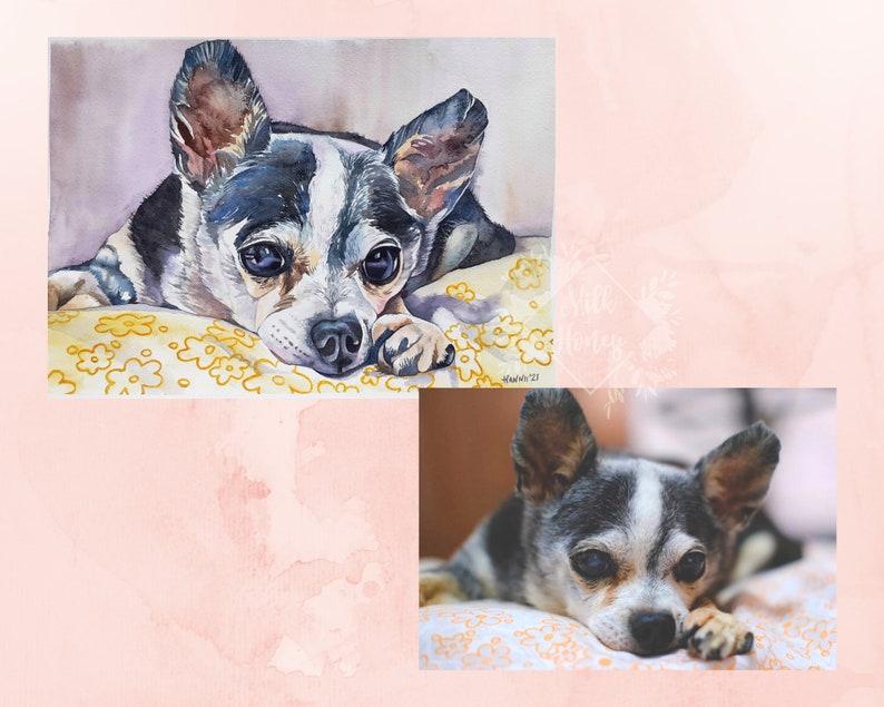 Pet Portrait Custom Watercolor PET PORTRAIT Dog Painting From Photo Dog Art Cat Painting Cat Art Pet Memorial Personalised Pet Portrait