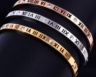 d0041933e 18k Gold Roman Numeral Atlas Cuff Dainty Bracelet Bangel Gift For Her |  Wedding Bridesmaid Gift Prom Graduation Gift Cute stacking Jewelry
