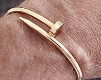 a0c16f11d09 Mens Nail Bracelet Bangle Men Jewlery 18k Gold Cuff Custom Nail Gift For  Him Fathers Day Gift Fashion New Men's Style Gold Screw Cuff Nail