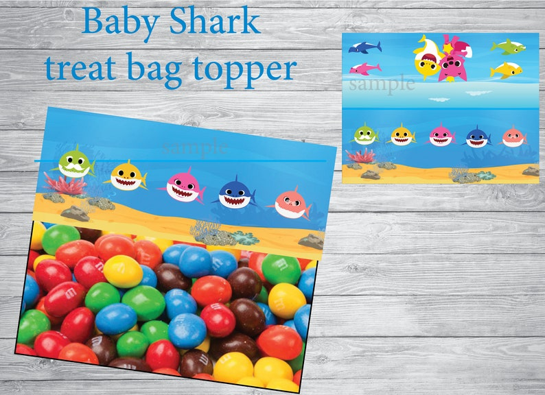 Printable Baby Shark party INSTANT DOWNLOAD- Baby Shark treat bag topper Baby Shark birthday