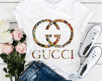 8272a9992 Gucci Floral Shirt Gucci Gift Gucci Birthday Gucci Inspired Chanel t shirt  Chanel Logo Louis Vuitton tshirt Versace Gift for Mom Mama Gift