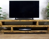 Solid Wood Rustic Handmade Pine Hartington TV Unit Stand, finished in Chunky Country Oak