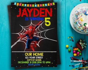Spiderman Invitation Birthday Theme Card Party Printable