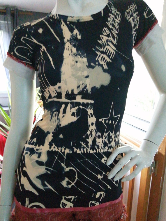 Top Jean Paul Gaultier vintage mesh tattoo T-shirt
