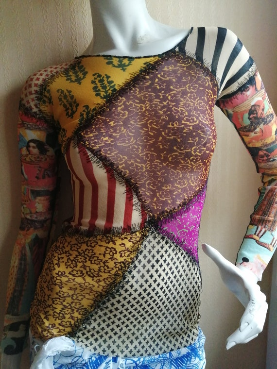 Top mesh mesh tattoo vintage Jean Paul Gaultier pr