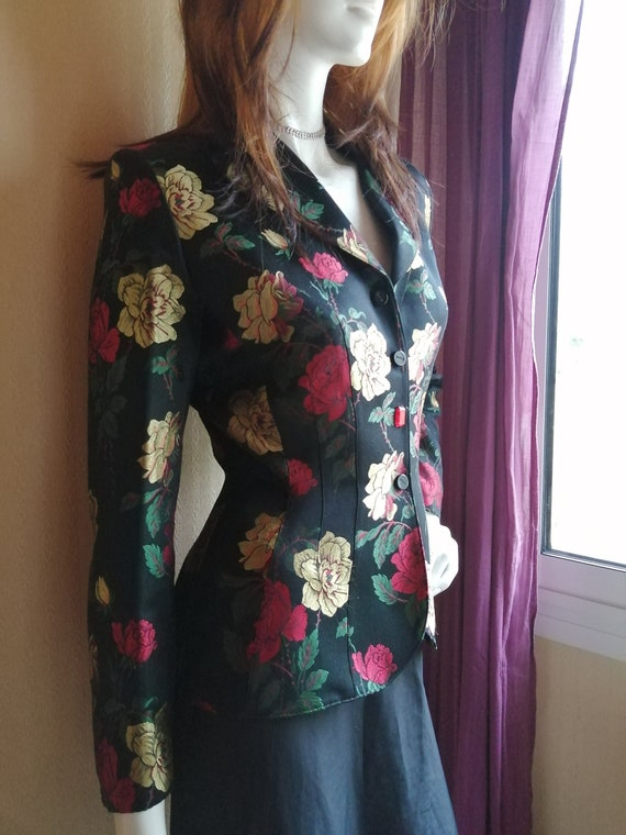 Thierry Mugler's vintage silk embroidery floral em