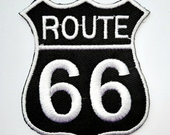 US Route 66 Sign Biker Golden Motif Iron// Sew-on Embroidered Patch//T Shirt Badge