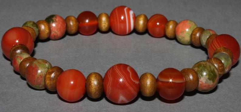 Carnelian and Unakite bracelet