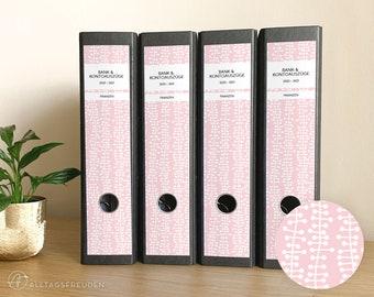 Ordnerrücken Klebe-Etiketten Druckvorlage   Labels Printable   Muster: Ranken   rosé, pastell   Selbstausdrucken   Schilder   Aufkleber