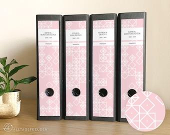 Ordnerrücken Klebe-Etiketten Druckvorlage   Labels Printable   Muster: Quadrate   rosé, pastell   Selbstausdrucken   Schilder   Aufkleber