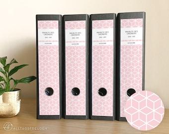 Ordnerrücken Klebe-Etiketten Druckvorlage   Labels Printable   Muster: Rauten   rosé, pastell   Selbstausdrucken   Schilder   Aufkleber