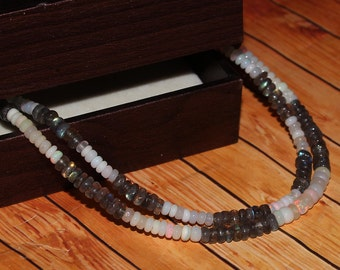 Bracelet Size 7 Inch AAA+++ Quality Labradorite and Opal Bracelet Rondelle Beads Jewelry Bracelet Size 33.20 Crt Cheap Price. 4 To 6 mm