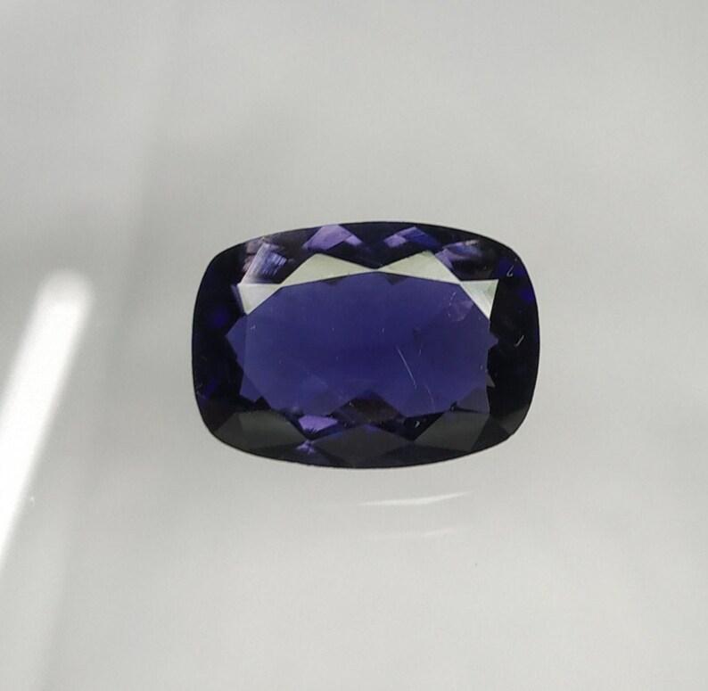 violet blue colour Iolite cushion gemstone Natural Iolite faceted Cushion shape loose gemstone 3.10 carat 8.5\u00d711.7\u00d75 mm VVS quality AAA